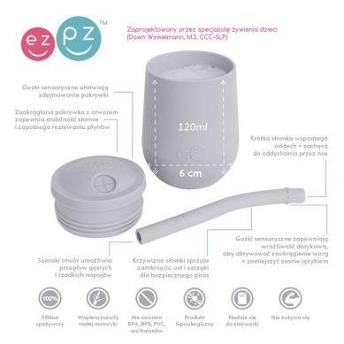 EZPZ - Silikonowy Kubeczek ze Słomką Mini Cup + Straw Training System 120 ml Pastelowa Szarość