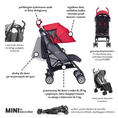 MINI by Easywalker - Wózek Spacerowy z Osłonką Przeciwdeszczową 6,5kg Union Red Special Edition