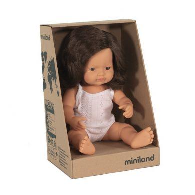Miniland - Lalka Dziewczynka Europejka 38cm Brązowe Włosy