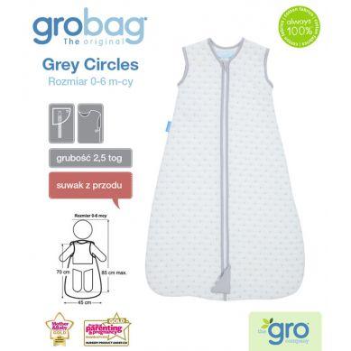 Gro Company - Śpiworek Grobag Grey Circles grubość 2,5 tog Jacquard 0-6m