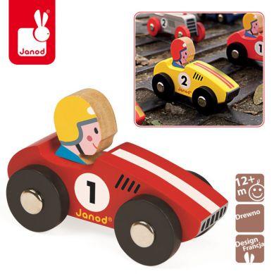 Janod - Wyścigówka Drewniana Racer Czerwona
