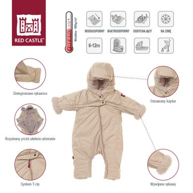 Red Castle - Kombinezon Zimowy Combi T-ZIP 6-12m Heather Beige
