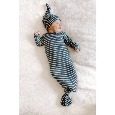 aden + anais - Miękki Śpiworek Wiązany na dole Snuggle Knit - Navy Stripe 0-3m