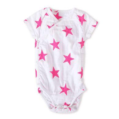 Aden + Anais - Body Krótki Rękaw Pink Star 3-6m