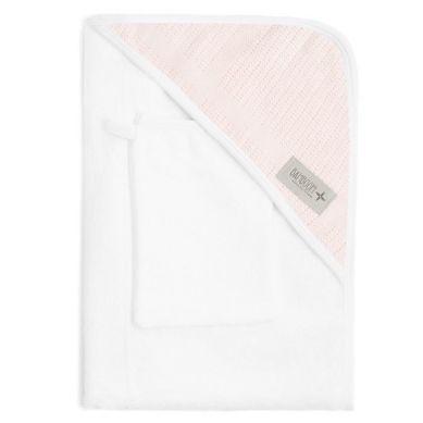 Bamboom - Ręcznik z Kapturkiem + Myjka 100% Bambus Organiczny Biały&Różowy
