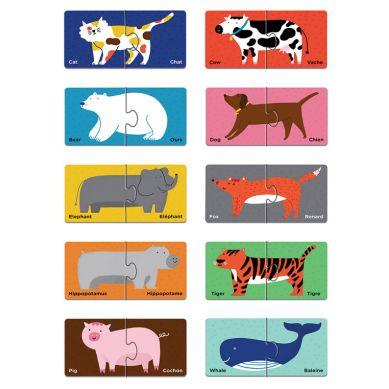 Mudpuppy - Dwujęzyczne Puzzle ze Zwierzątkami do Nauki Pierwszych Słów Angielski/Francuski