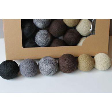 Cottonove Love - Lampka z Bawełnianych Kul 20szt. Natural Cotton Balls