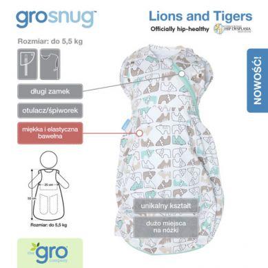 Gro Company - Otulacz-Śpiworek Grosnug Lions and Tigers Cosy