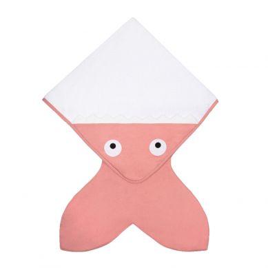 Baby Bites - Ręcznik z Kapturkiem Rekinek 75x75cm Różowy