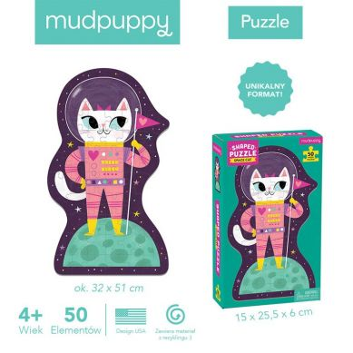Mudpuppy - Puzzle w Kształcie Postaci Kotka w Kosmosie 50 elementów 4+