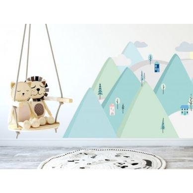 Pastelowelove - Naklejka na Ścianę Góry Miętowe L 180x90 cm