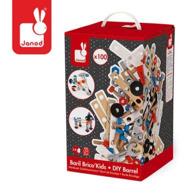 Janod - Zestaw Konstruktora 100 elementów Brico Kids Kolekcja 2018