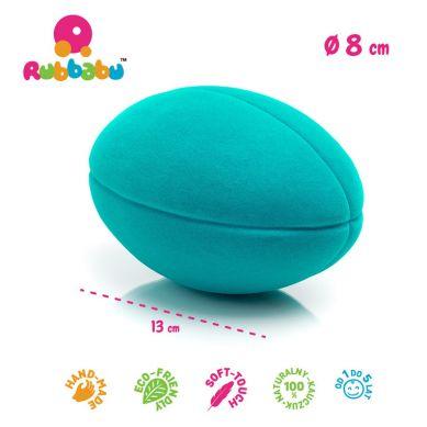 Rubbabu - Duża Piłka Sensoryczna z Mocną Fakturą Rugby Turkusowa