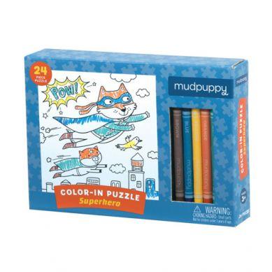 Mudpuppy - Puzzle Kolorowanka z 5 Kredkami Superbohaterowie