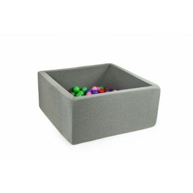 Misioo - Suchy Basen Kwadratowy z 200 Piłeczkami Szary 90x90x40 cm + 100 Dodatkowych Piłek