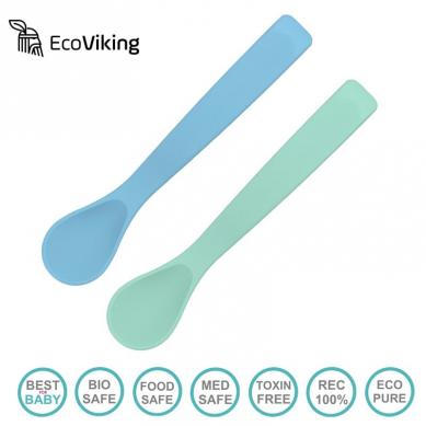 Eco Viking BLW Flexi Spoon Blue + Mint silikonowe łyżeczki 2 szt