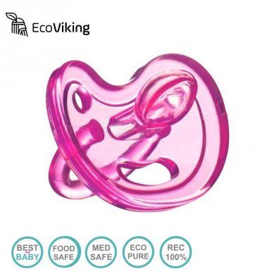 Eco Viking - Anatomiczny Smoczek Uspokajający SiliMed Pink 0m+