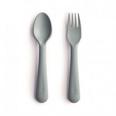 Mushie - Sztućce dla Dzieci do Nauki Samodzielnego Jedzenia Sage 6m+
