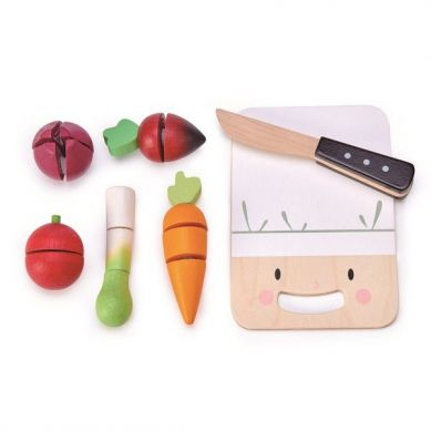 Tender Leaf Toys - Drewniana Deska z Warzywami do Krojenia Mini Chef 3+