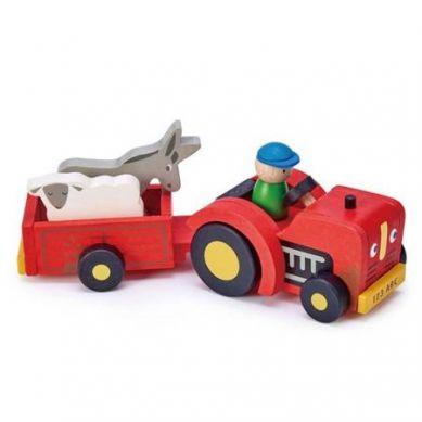 Tender Leaf Toys - Drewniany Traktor z Przyczepą ze Zwierzątkami 3+