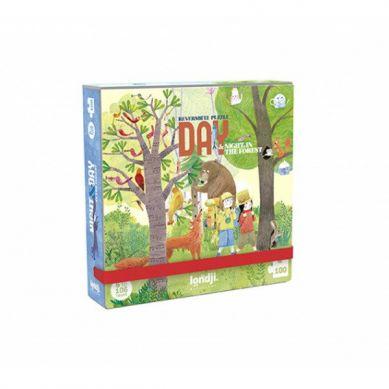 Londji - Dwustronne Puzzle dla Dzieci Kieszonkowa Wersja Dzień i Noc 3+