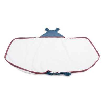 Poofi - Duży Ręcznik z Uszkami Lamówka Bordo, Kapturek Denim