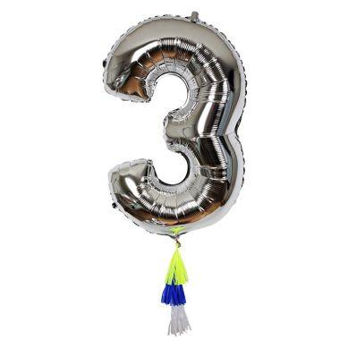 Meri Meri - Balon Cyfra 3 Srebrny