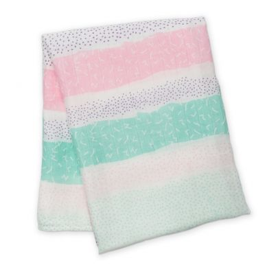 Lulujo - Kocyk Bambusowy Pink Spotted Stripe