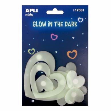 Apli Kids - Fluorescencyjne Naklejki Serduszka 3+