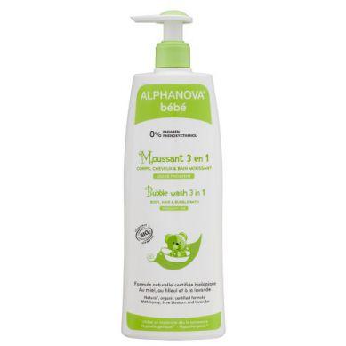 Alphanova Bebe - Organiczny Płyn do Kąpieli dla Dzieci 3 w 1 500 ml