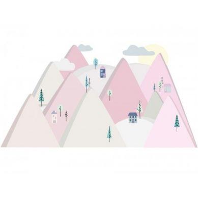 Pastelowelove - Naklejka na Ścianę Góry Różowe L 180x90 cm