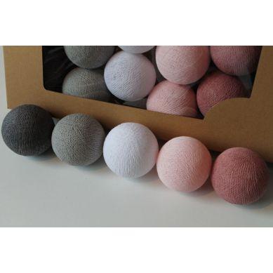 Cottonove Love - Lampka z Bawełnianych Kul 35szt. Dusty Pink