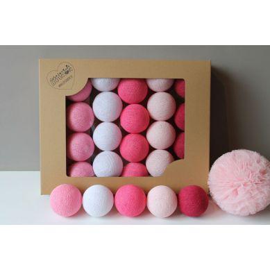 Cottonove Love - Lampka z Bawełnianych Kul 50szt. Sweet Pink