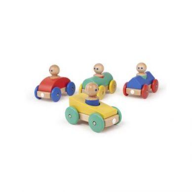 Tegu - Drewniane Klocki Magnetyczne Baby and Toddler Wyścigówka Yellow Teal 1+