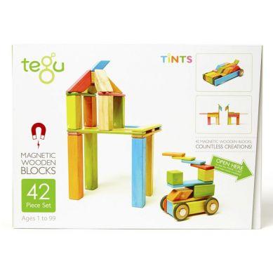 Tegu - Drewniane Klocki Magnetyczne Classics Zestaw 42szt Tints