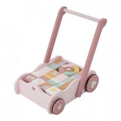 Little Dutch - Wózek z Klockami Różowy 1+