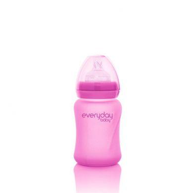 Everyday Baby - Szklana Butelka ze Smoczkiem S Reagująca na Temperaturę 150 ml Wiśniowa