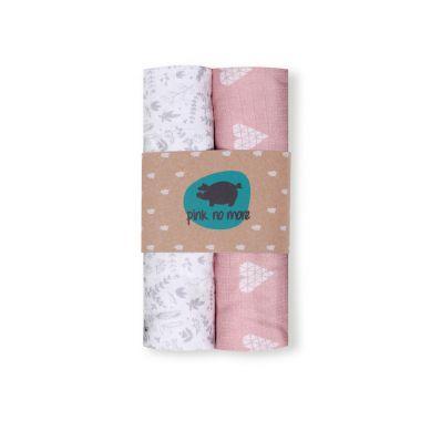Pink no More - Muślinowo-bambusowe Pieluszki Serca Róż&Botanic Dwupak