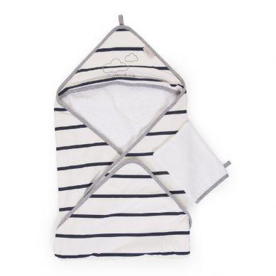 Childhome - Ręcznik z Kapturkiem z Myjką Jersey Marin
