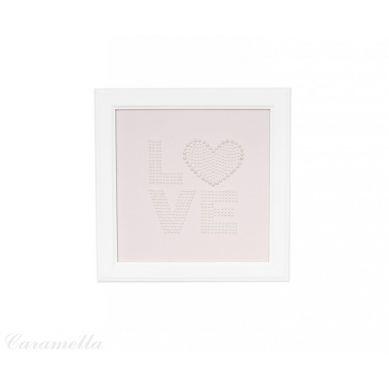 Caramella - Obrazek Pudrowy z Napisem Love z Perełek z Kokardą