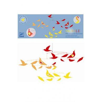 Djeco - Ruchoma Dekoracja Ptaszki Czerwono-żółte