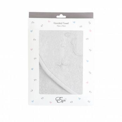 Effii - Ręcznik z Kapturkiem Owieczka Biały z Szarą Lamówką 70 x 70 cm