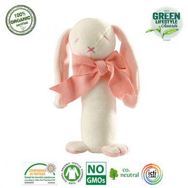 Maud'N'Lil - The Bunny Stick Rattle Grzechotka Organiczna Miękka Rose
