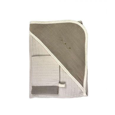 Muzpony - Okrycie Kąpielowe z Myjką 80x80 Taupe