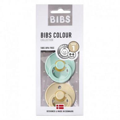 BIBS - Smoczek Uspokajający Hevea 2-pack S Mint & Beige