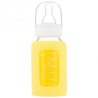 Eco Viking - Antykolkowa Butelka Szklana dla Niemowląt 120 ml Yellow