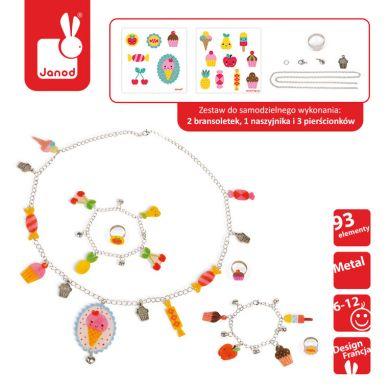 Janod - Zestaw Artystyczny do Tworzenia Biżuterii z Kurczliwego Plastiku Słodkości