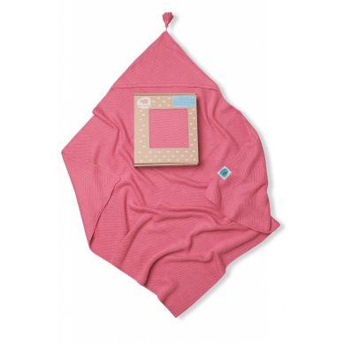 Pink no More - Kocyk Bambusowy Tkany z Kapturkiem Różowy