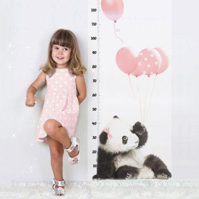 Dekornik - Naklejka Ścienna Miarka Wzrostu Panda z Różowymi Balonami 150x60cm