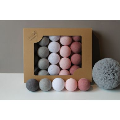 Cottonove Love - Lampka z Bawełnianych Kul 10szt. Dusty Pink